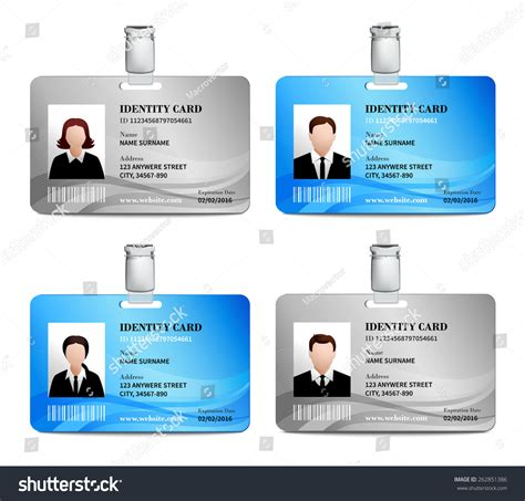 User Id Lookup User Id Card Realistic Set With And Photo Templates Isolated Vector