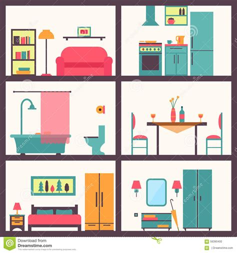 house interior vector house in cut detailed modern house interior stock vector image 56390400