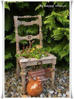 Deko Ideen Herbst 5743 rot lackierter stuhl mit blumen bepflanzt garten