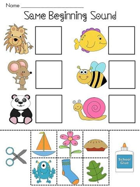 Beginning Sounds Cut And Paste Worksheets by Beginning Sounds Beginning Sounds Worksheets And Words