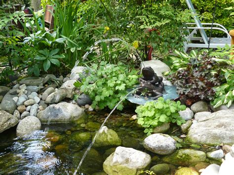 Garden Pond Ideas For Small Gardens Small Backyard Garden House Design With Ponds And Low Waterfall With Various Plants Ideas