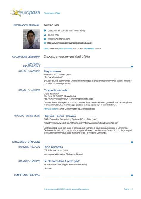 Formato Europeo Curriculum Vitae Spagnolo Europass Cv 20130122 Risi It