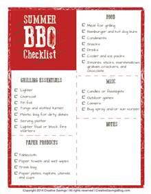 Backyard Bbq List Free Summer Bbq Checklist Creative Savings