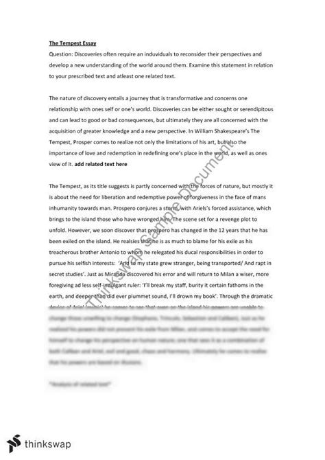 Tempest Essay by Tempest Essay Year 12 Hsc Advanced Thinkswap