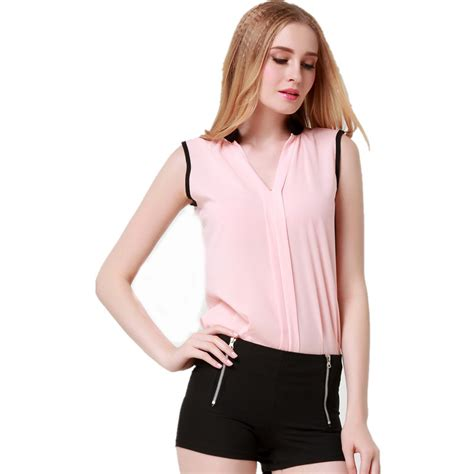 Blouse Siffon 01 blusas femininas 2015 new fashion s v neck summer chiffon blouses sleeveless blouse
