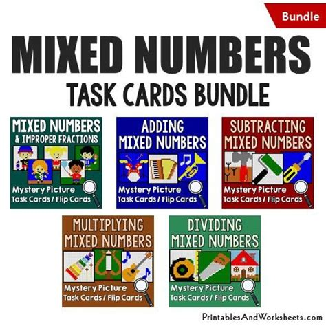 printable mixed number cards mixed numbers task cards bundle printables worksheets