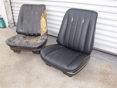 motor upholstery bucket seat restoration hog rings super chevy magazine