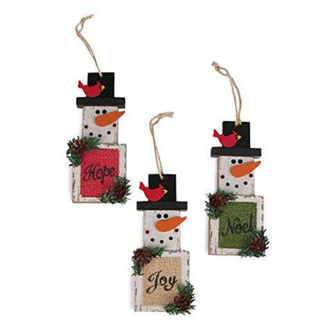 wooden snowman ornaments 3 pack big lots