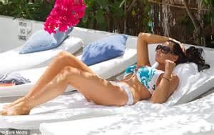 Best Shade Of Blue jessica wright looks hot in a dragon print bikini under an