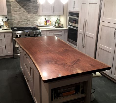 wood top kitchen island live edge wood countertops brooks custom