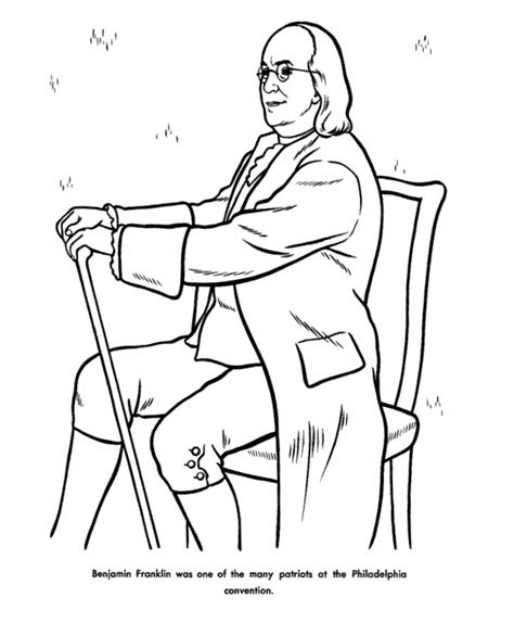 usa printables benjamin franklin coloring pages famous