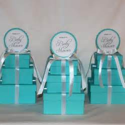 small centerpiece light teal and white three tier by