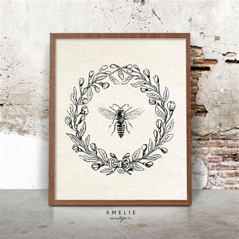 bee print farmhouse printable french country decor rustic