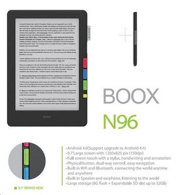 first look at new 9.7 inch onyx boox n96 ereader | the