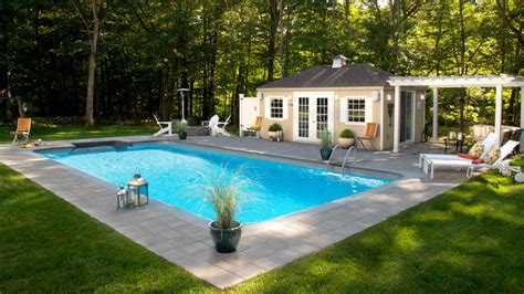 Inground pool with pool house and fire pit contemporary pool new york by fairfield pool