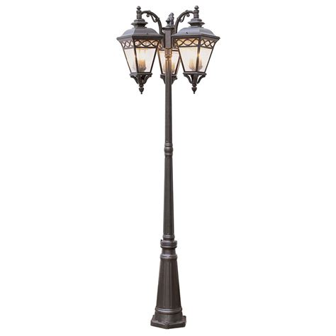 3 l post light trans globe lighting 3 head outdoor burnished bronze