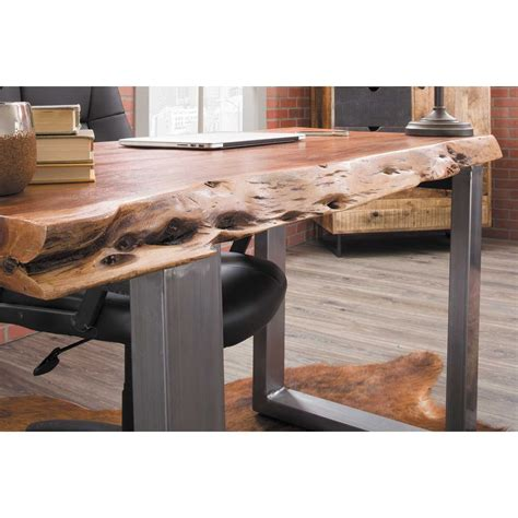 live edge writing desk solid acacia top live edge writing desk at