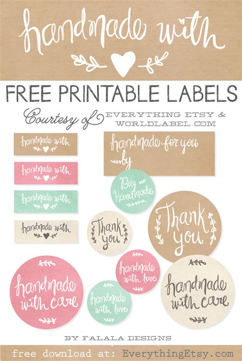 Handcrafted By Labels - best of free printable tags labels for handmade gifts