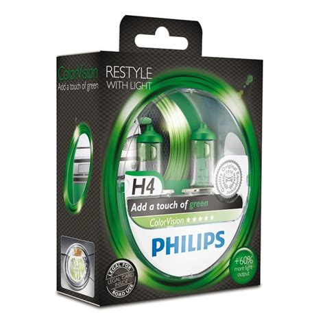 Lu Philips H4 55 60 Watt 2 oules philips h4 colorvision verte 60 55 w 12 v