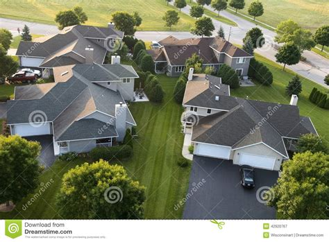 aerial view houses homes subdivision neighborhood stock