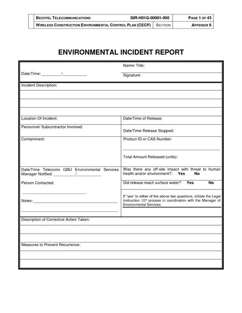 environmental impact report template best photos of incident report template word document sle incident report template free