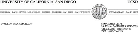 Ucsd Official Letterhead Policy Records Administration Ucsd