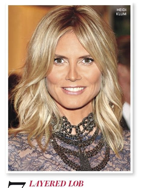 layered lob hairstyles love this layered lob on heidi klum beauty pinterest