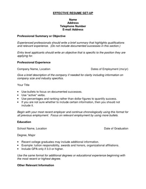 resume setup exles how to set up resume sles of resumes