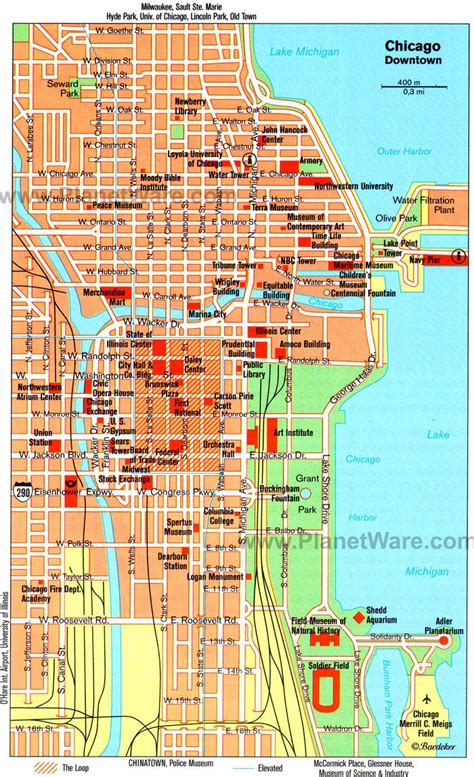 chicago in map of usa chicago museums map map of museums in chicago united
