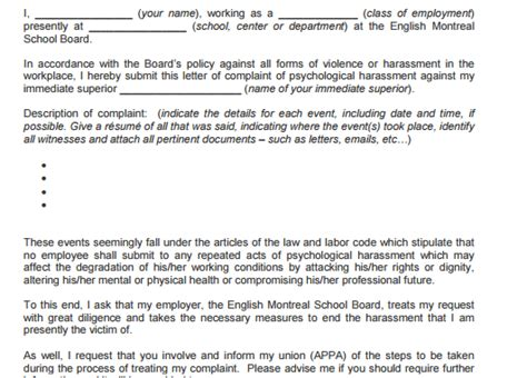 Complaint Letter Harassment In Workplace 5 harassment complaint letters find word letters