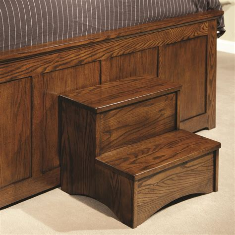 step stool for bed intercon oak park op br step mis c bed step stool hudson s furniture miscellaneous