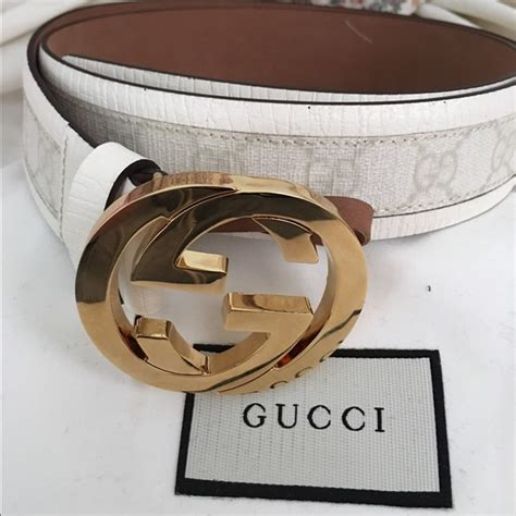 56 gucci other authentic gucci white monogram gold s belt from aiden s closet on poshmark