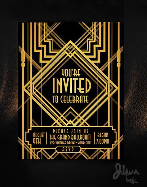 great gatsby invitation template 17 best images about gatsby invitation on