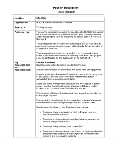 13 Job Description Templates Free Sle Exle Format Free Premium Templates Store Manager Description Template