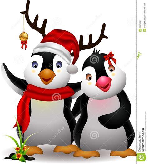cute penguin christmas cartoon couple  love royalty  stock photography image