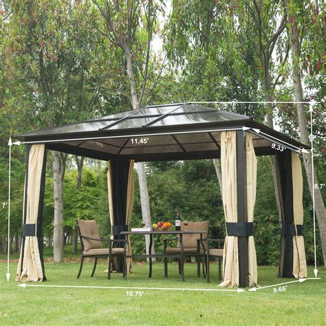 gazebos with curtains nets outsunny 11 5 x 9 3 hard top gazebo deluxe roof with