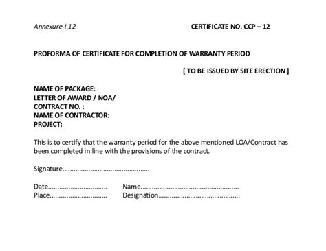 certification letter for contractor contract closing ppt