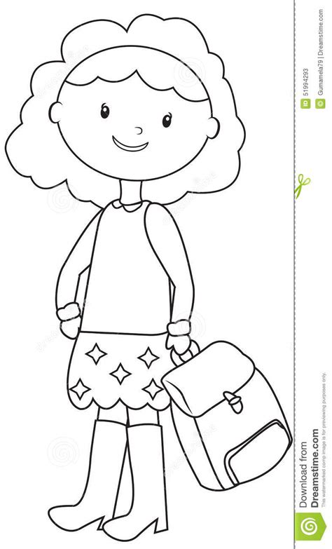 School Girl Coloring Page Stock Illustration   Image: 51994293