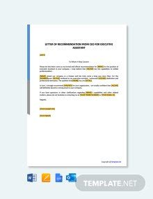 ceo recommendation letter template word