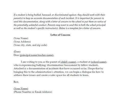 Parent Letter Of Concern School Webinar Bullying Prep