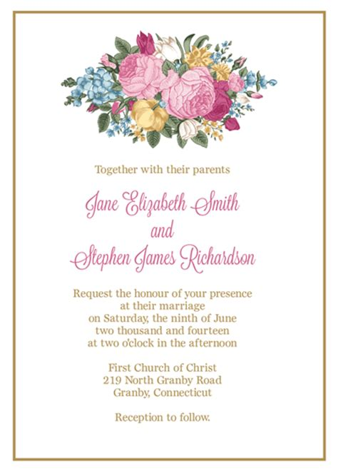 flower invitation template vintage floral invitation and rsvp wedding