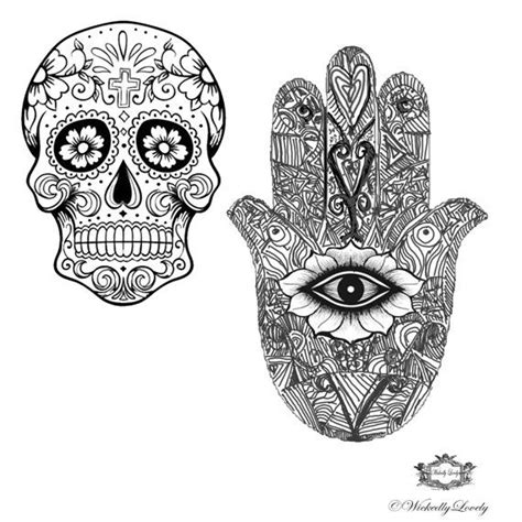sugar skull and hamsa hand wickedlylovely by