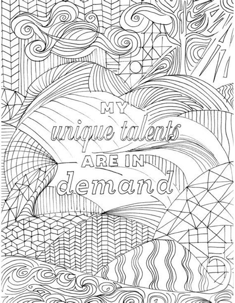 positive affirmation coloring page  adults