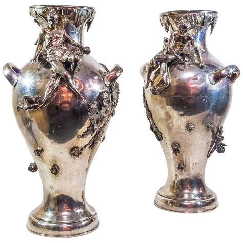 Silver Plated Flower Vase by Pair Of Silver Plated Nouveau Figural Flower Vases For