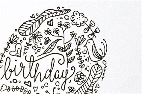 doodle happy birthday simple doodle filled card for a birthday