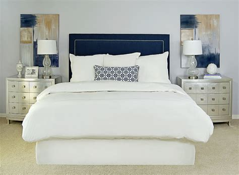 navy and white bedrooms navy upholstered headboard transitional bedroom ej
