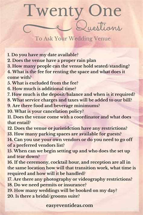 Questions To Ask Husband To Be For Bridal Shower by 21 Questions To Ask Your Wedding Venue Easy Event Ideas
