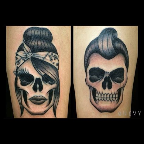 gangster couple tattoos rock n roll guivy switzerland chicano
