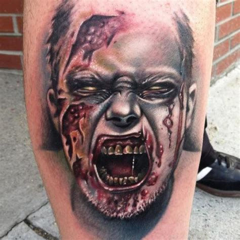 zombie tattoo gun calf monster blood zombie tattoo by johnny smith art