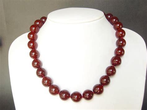 gemstone necklace carnelian large 14mm